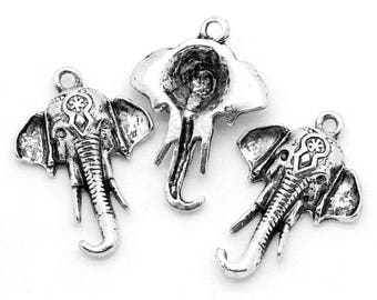 4 charms in antique silver elephant head