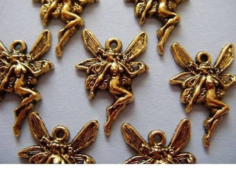 6 charms in antique gold metal Butterfly Fairy