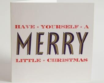 Merry Little Christmas - Letterpress Printed Christmas Greetings Card
