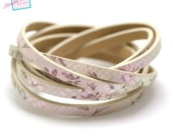 """leather double fantasy """"shell flower"""" 5 mm 1.2 m beige fuchsia reflection"""