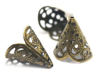 20 16 x 15 x 11 mm filigree bead caps, bronze