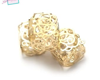 """pendants 1 """"Crystal cube filigree cage"""" 13 x 13 mm, gold"""
