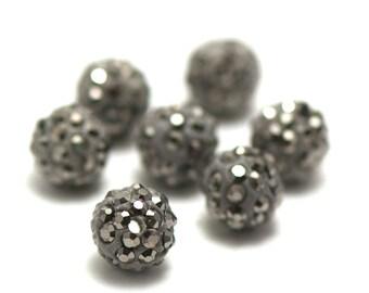 4 rhinestone 10 mm shamballa beads, metallic gray