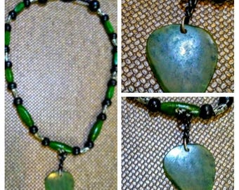 jade guitar pick shaped necklace