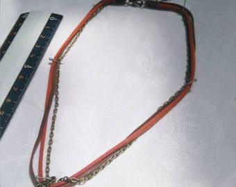 Necklace, suede, bronze chain and bail
