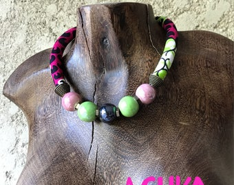 WAX NECKLACE / pink-green ceramic