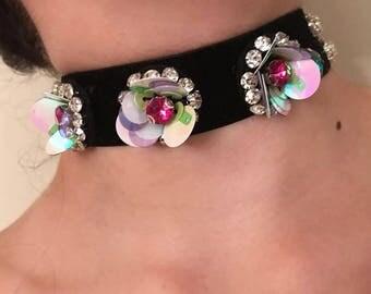 Velvet handmade floral Chocker
