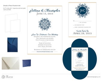 Simple 2-Piece Petal Pocket Invitation Set