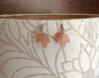 Maple Leaf Earrings (peach/pink)