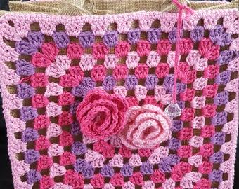 Handmade crochet jute bag, pinks and purples