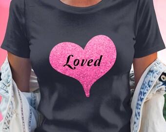 Loved - Tee Shirt - Simple Trendy Pink Heart Design - Tri-Blend