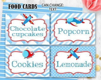 Airplane Food cards Place cards Table cards Pilot food cards Airplane place cards Digital printable Birthday food cards