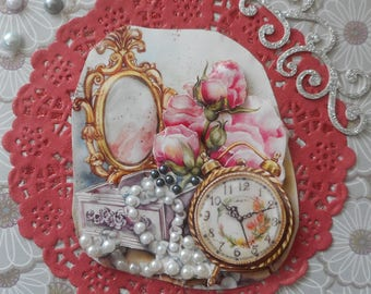 C277 postcard 3D with a mirror, one with a White Pearl Necklace jewelry box, a bouquet of roses and an old alarm clock.