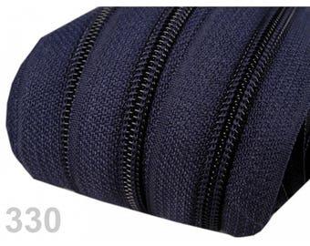 25 M Navy Blue zipper mesh 5 mm spiral