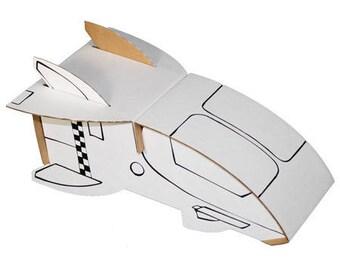Navette spatiale à construire et à colorier avec 6 feutres inclus / Kit créatif DIY contruction carton et coloriage / Anniversaire enfant