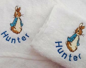 Personalised Embroidered Hooded baby / toddler towel Peter Rabbit Beatrix Potter Christening Babyshower Naming day Gift Baby Boy Girl