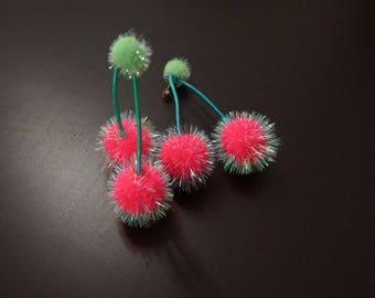 cake earrings - fresh cherry - fluffy soft felt little candy art miniature handmade jewelry accessories - 50mm length 1 pair