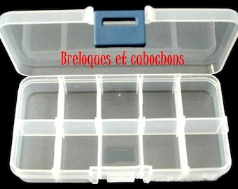 1 box plastic 10 bins for storage 7x13x2.3 cm