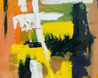 Abstract  Canvas Art, Modern Original Framed Deep Edged, Oil Painting. Artist Peter D Davies. Title: Yellow White Study. Size. 61 x 45 x 4cm