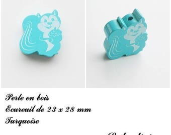 23 x 28 mm wood bead, Pearl flat squirrel: Turquoise