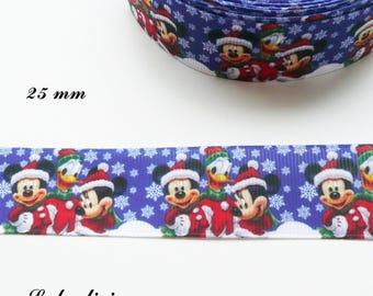 Ribbon blue grosgrain with snowflakes snow Mickey Minnie Donald 25 mm sold by 50 cm