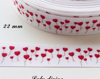 Ribbon 22 mm sold by 50 cm heart shaped balloon white grosgrain