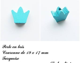 19 x 17 mm wooden bead, Pearl flat Crown: Turquoise