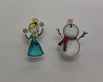 Winter characters clip hand made wooden embellishments