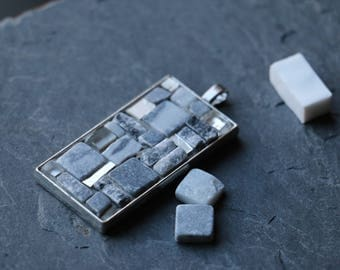 Mosaic marble grey and white gold pendant