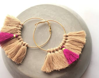 Elegant hoop! Large earrings tassel, tassel pom pom pom pom earrings gold
