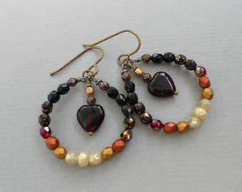 Drop earrings,hoop earrings,glass bead earrings,heart earrings.