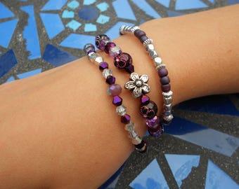 Stretchy, elasticated glass beads bracelets, multicolour bracelet, purple bracelet