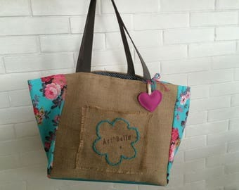 Floral vintage fabric burlap bag Multi Pocket