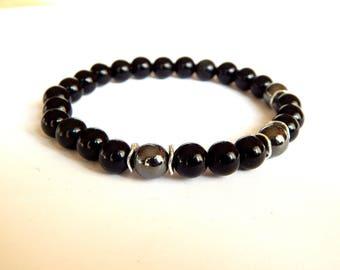 Black obsidian and Hematite gemstones man bracelet