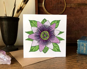 Passion Flower Illustration Greetings Card