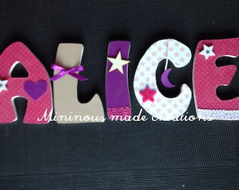 Name with ALICE stars theme custom wood letters