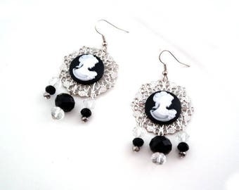 Black and white cabochon earrings silver, cameo print black and white earrings