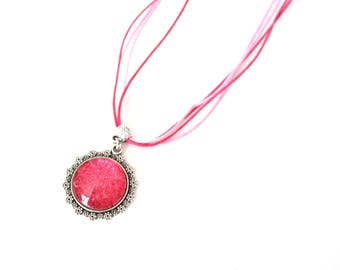Long necklace mi pink glitter, pink necklace and pink glitter cabochon