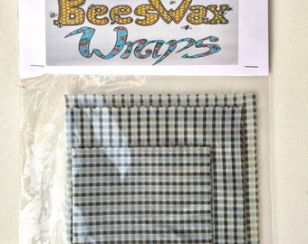 Beeswax Food Wraps multi pack 3 sizes plaid design