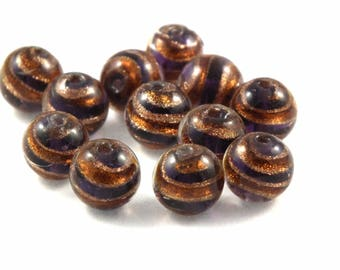 Glass bead ♥X2 10mm♥ purple gold