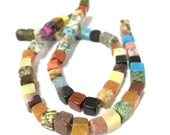 X 33 PCs beads stone cube 7mm