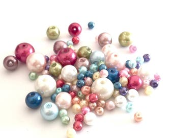 Assortment of 150 3-8mm polished glass beads