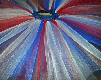 Red, white and blue tulle tutu skirt
