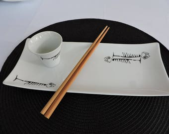 Plate for sushi, gravy boat and chopsticks