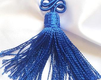 Pompom tassel Moroccan vegetable silk thread braided Royal Blue