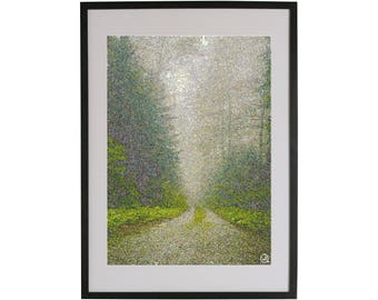 Forest path art print. High quality Scandinavian contemporary art piece