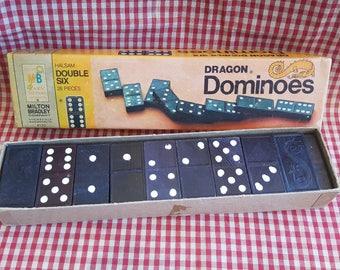 Vintage 28 Piece Wooden Domino Set by Milton Bradley in Original Box