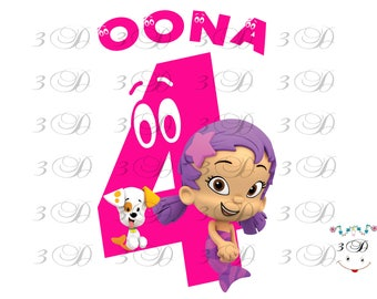 Bubble Guppies Iron On Transfer Design. Bubble Guppies Birthday Shirt Iron On Transfer. Ooona DIY Birthday Shirt Transfer. Digital File Only