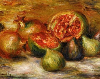 ORIGINAL design, durable and WASHABLE PLACEMAT - Pierre Auguste Renoir - still life with figs. Classic version.