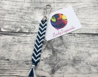 Keychain attached simple white and blue